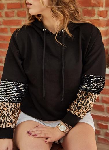 XHAN Kol Detaylı Sweatshirt 9Yxk8-41801-02 Siyah